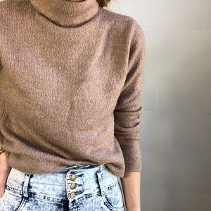 Cozy Tan Mock Neck Knit Pullover  bravesoullondon